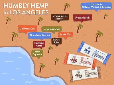 Humbly Hemp: Illustrated Stockist Map health food hemp food and beverage shop los angeles digital illustration map illustration