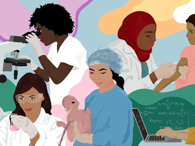 World Health Organization: International Women's Day stem women science portraits editorial illustration
