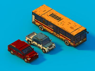 Voxel Cars game art voxel 3d art isometric magicavoxel voxelart
