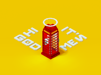 A phone call to heaven isometric 3d art magicavoxel voxelart voxel