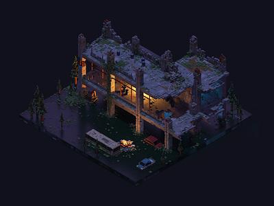 The flooded city 3d art isometric voxelart voxel magicavoxel