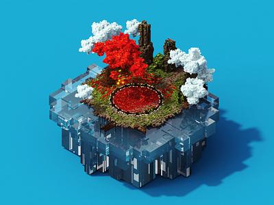 Omi Lake isometric 3d art magicavoxel voxel voxelart
