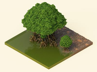 Mangrove 3dart isometric magicavoxel voxel voxelart