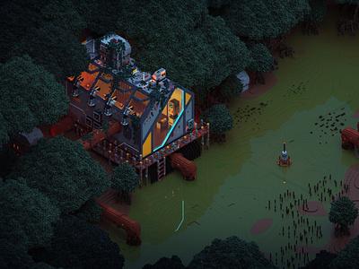Mangrove swamp 3dart isometric magicavoxel voxel voxelart