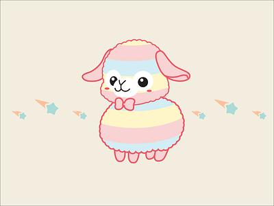 Baby rainbow alpaca illustration animal cute llama alpaca pastel rainbow