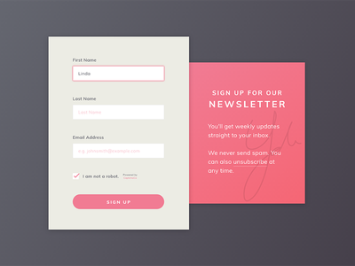 Daily UI #001 Signup sign up form daily ui dailyui