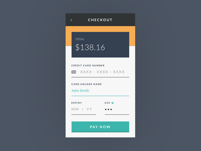Daily UI #002 Checkout pay now credit card payment checkout dailyui daily ui
