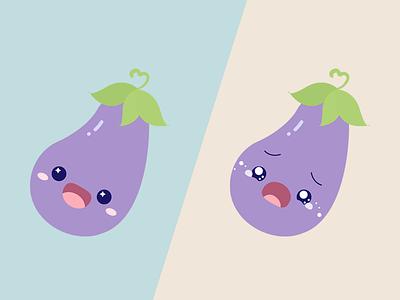 Eggplant Icon illustration icon artwork happy crying emoji icon eggplant