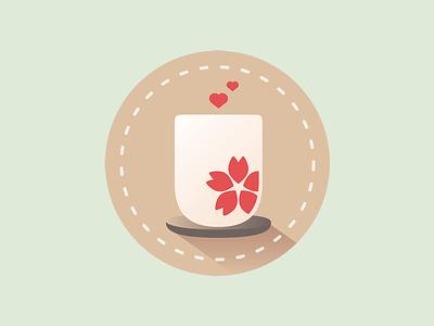 Tea cup love coffee teacup hearts coaster cherry blossom tea cup