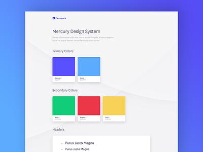 Mercury Design System design system ui kit saas typography colors styleguide ui outreach mercury