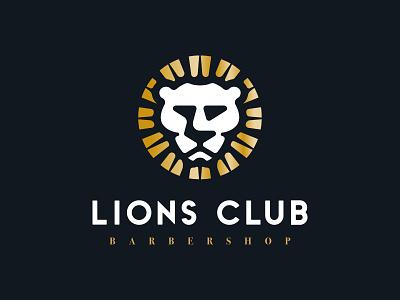 Lions Club Barbershop simple smooth gothic anaheim serif sans logos logo icon lion gold vintage