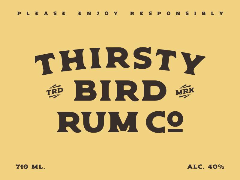 Thirsty Bird Rum Co. catchwords logo rum americana bold font display retro vintage