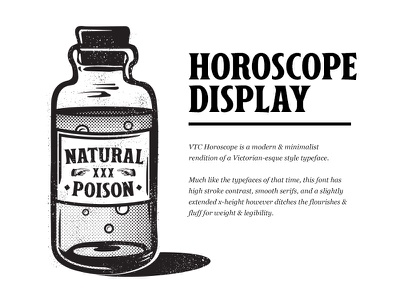 VTC Horoscope Display Font woodcut illustration bottle apothecary horoscope font vintage font display clean victorian vintage