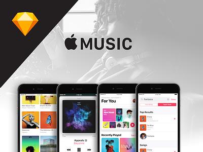 Apple Music Sketch UI Download | Freebie freebie apple music free sketch download ui ux spotify tidal ui kit kit