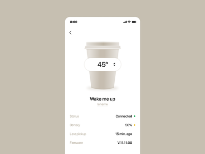 Smart mug settings - Font size practice about settings draggable temperature ui coffee cup smart mug font size
