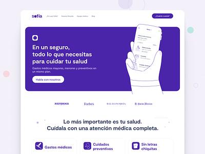 Sofia website purple insurance product design landing page branding 1