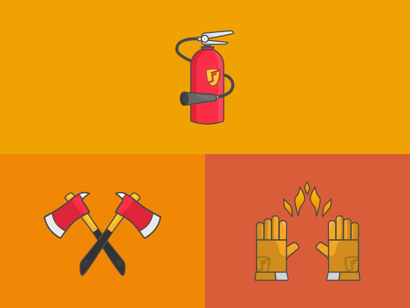 Fire station stickers 👨🏽‍🚒🔥 cartoon red orange stickers fireman axes fire gloves fire extinguisher firefighter