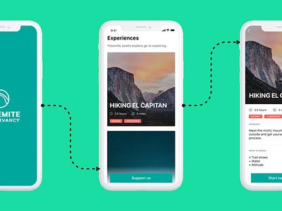 Yosemite conservacy challenge mobile app guide ios 11 donation iphonex flows ui app redesign yosemitechallenge