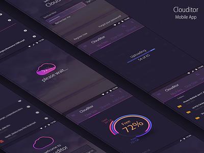 Clouditor. Mobile App. UI/UX uploading folder file app cloud