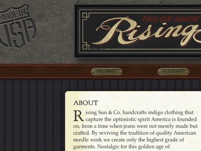 Rising Sun & Co responsive product design skeuomorphic website fashion