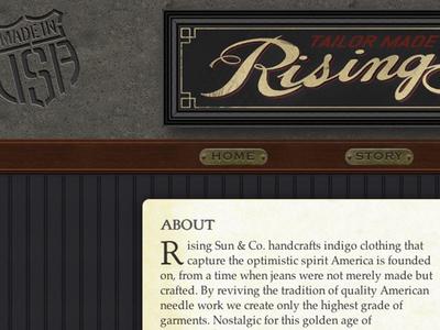 Rising Sun & Co responsive product design skeuomorphic website fashion