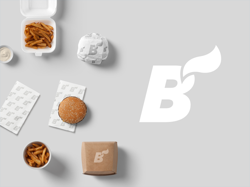 B! burger fries typography lettering design gastro food identity branding brand logotype logo