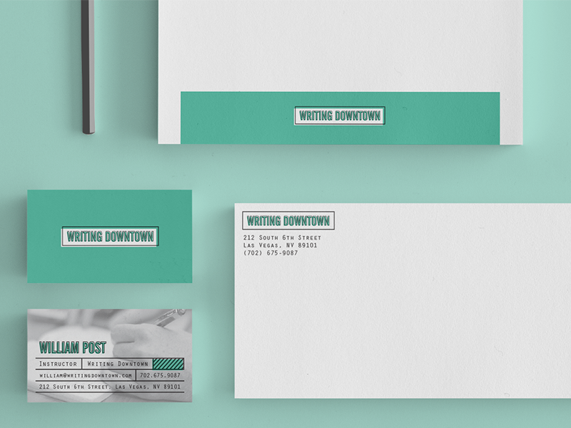 Writing Downtown Identity mockup logo stationary business cards envelope mock up letterhead identity