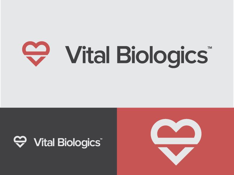 Vital Biologics logo logo branding design typography heart healthy vital icon