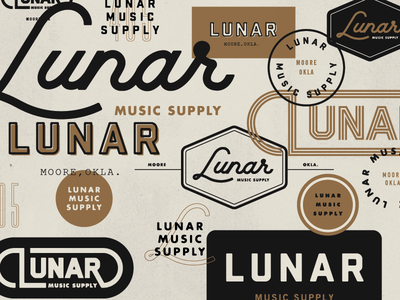 Lunar Music Supply  branding lockups icons typography custom logo script store music