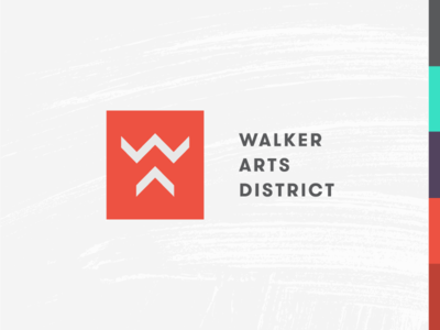 Walker Arts District Logo strokes brush texture typography branding town oklahoma norman city logo