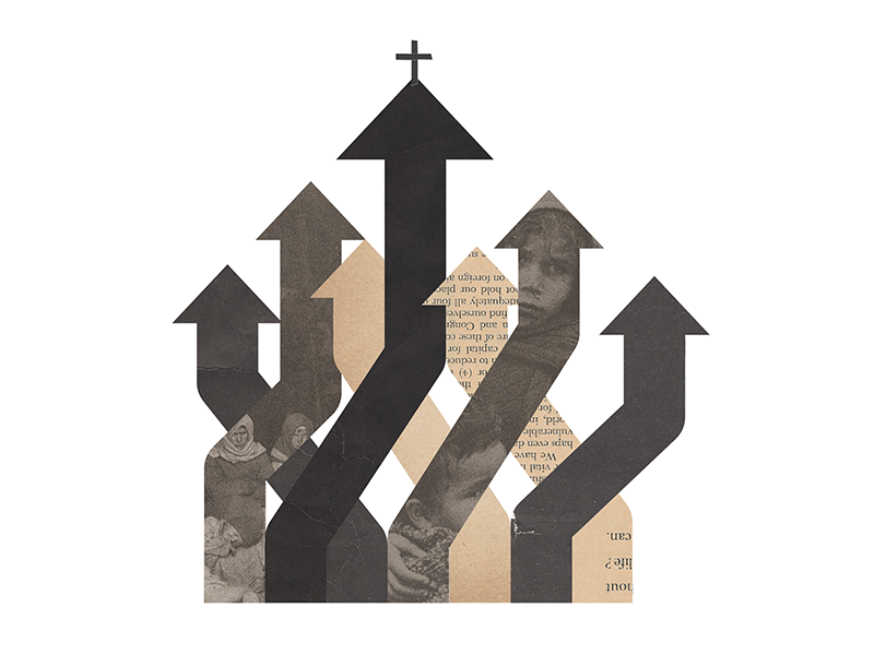 Sojourners Illustration crisis refugee faith church collage illustration editorial