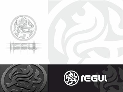 REGUL cryptocurrency logo concept. solid stilishly dinamic heraldic simpl minimalism minimalistic minimal modern round lion brandbook business branding brand corporate identity logotype logo