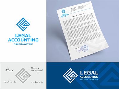 Legal and accounting services logo. design vector brandbook company servises designer business brand minimalism monogram branding accounting legal labirinth corporate identity logotype mark logo