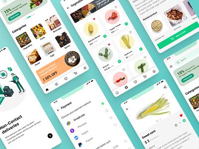 Grocery app (Veggies) fruits vegetables branding ui ux typography design app