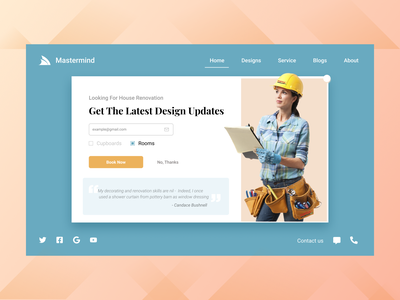 Mastermind - House renovation landing page renovation architect home page web landing page branding icon ui ux typography design