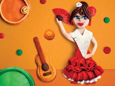 "Fragment of poster for ""Flamenco School"" dance school modeling clay flamenco illustration plastiline"