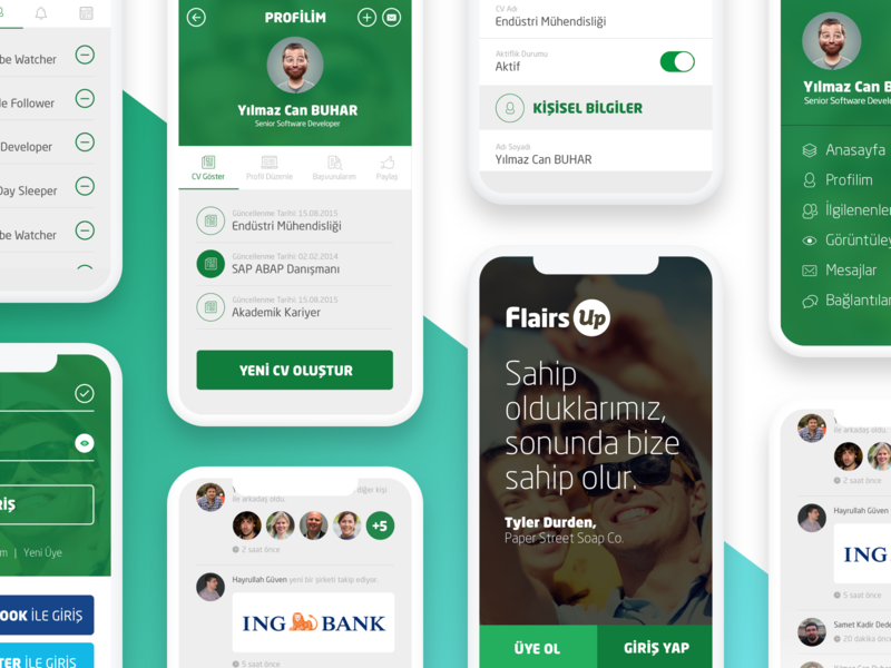 FlairsUp ux ui mobile app recruit ios app