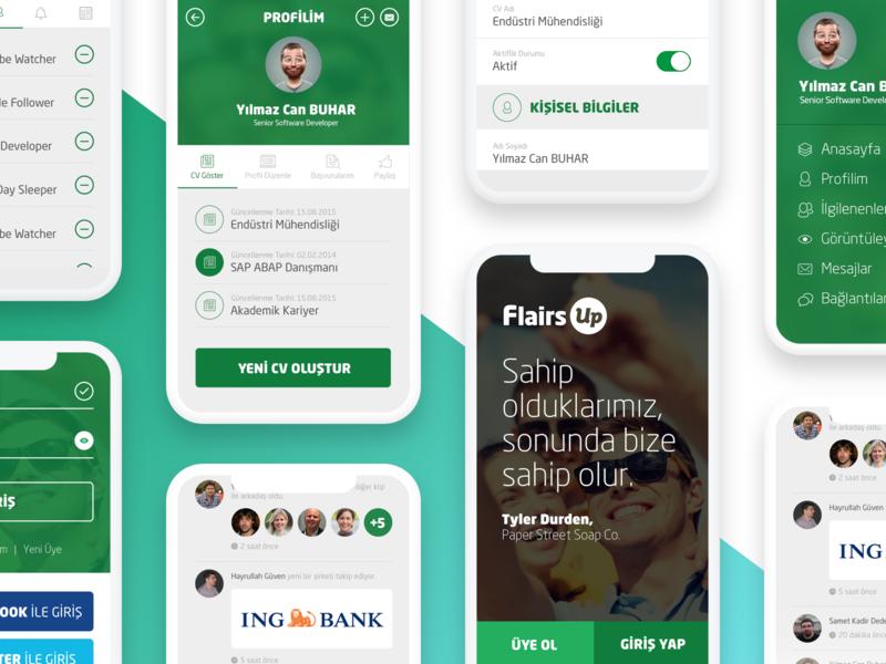 FlairsUp ux ui mobile app recruit ios app