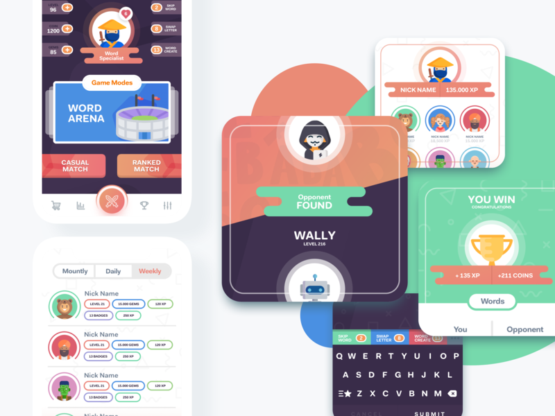 WordWar Game App Design ios app design ios game game app game mobile app design design ux ui