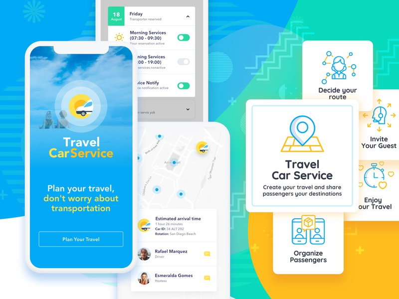 Car Travel Service iphone ios mobile mobile app mobile app design transportation travel vacation still life interface ux ui