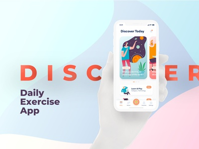 Discover Daily Exercise Mobile App free psd freebie iphone mockup mockup psd mockup mobile app interface ux ui