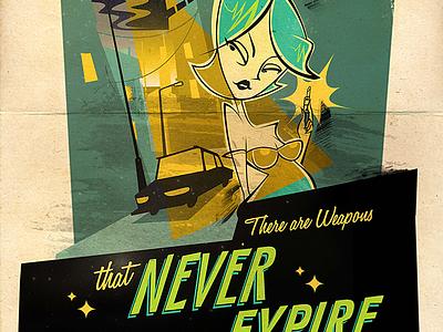 Weapons that never expire - Retro illustration lipstick retro design 60s art retro character design illustration