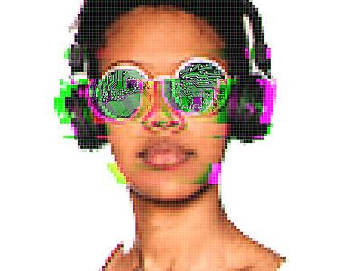 Glitch Glasses pixel pixel-art low-poly illustration glitch head photoshop