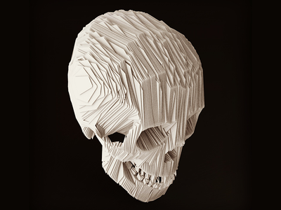 Paper Skull aftereffects skull paper dailyrender topography cinema4d 3d