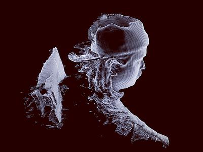 Self Portrait structuresensor topography xray art 3d dailyrender c4d 3dscanning 3dscanner
