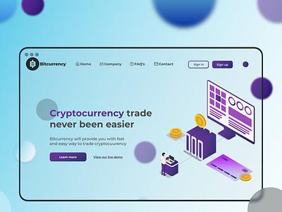 Cryptocurrency platform landing page light web ux ui design