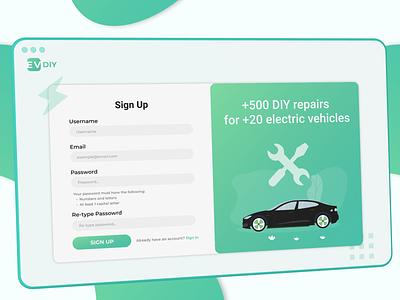 Sign up page for EV DIY repair web ux ui design