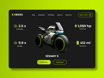 Daily UI #012 - E-commerce Electric Motorcycle Product Page illustration branding web ux ui design