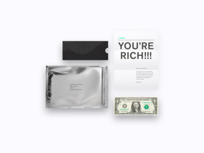 YOU'RE RICH!!! letter envelope dollar back to the future kit welcome rich investify