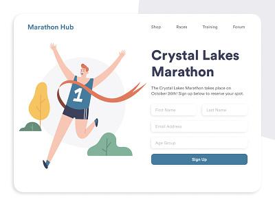 Marathon Hub website design webdesign figma clean design illustration form design form dailyui dailyui 001 daily ui marathon running web design signup form signup page signup